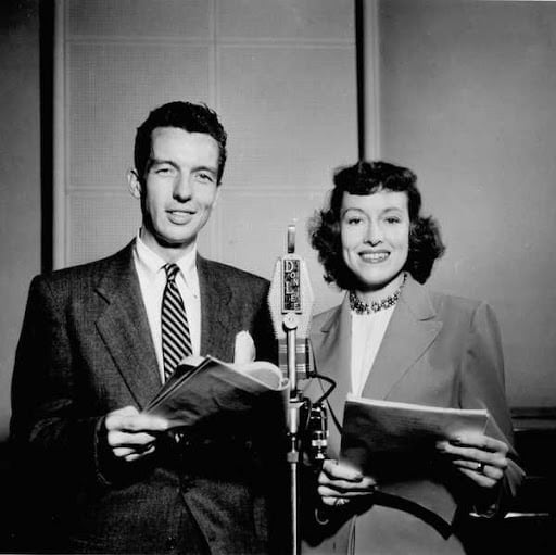 Bob Bailey & Virginia Gregg in front of an old Microphone
